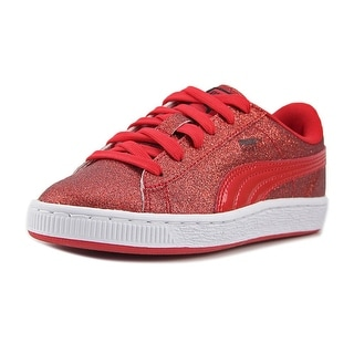 Puma Basket Holiday Glitz PS Youth Round Toe Canvas Red Sneakers