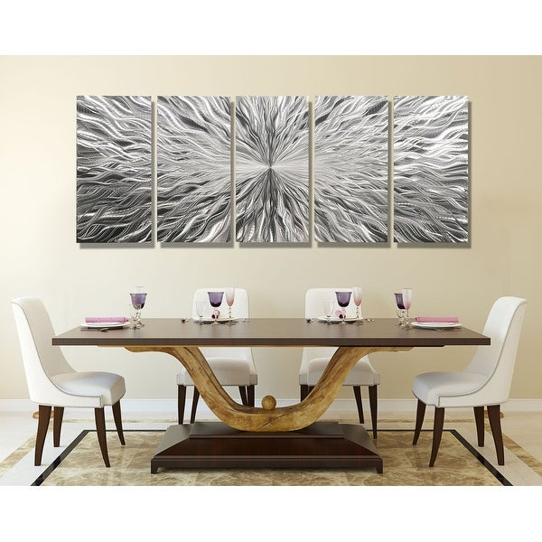 Statements2000 Extra Large Silver 5 Panel Modern Metal Wall Art Sculpture by Jon Allen - Vortex 5P XL