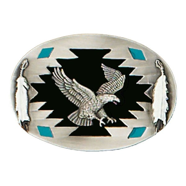 Flying Eagle Belt Buckle with Feather Detail - One size