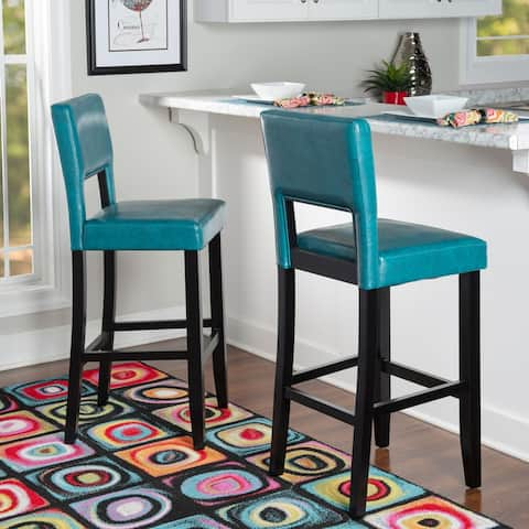 Porch & Den Warren Ocean Blue Upholstered Stationary Bar Stool