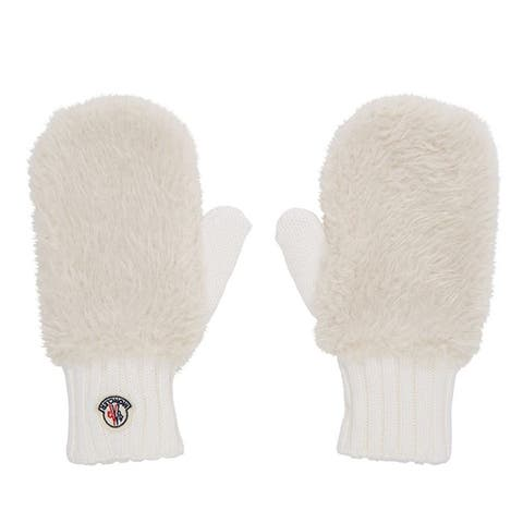 Moncler Womens White Gloves Mittens