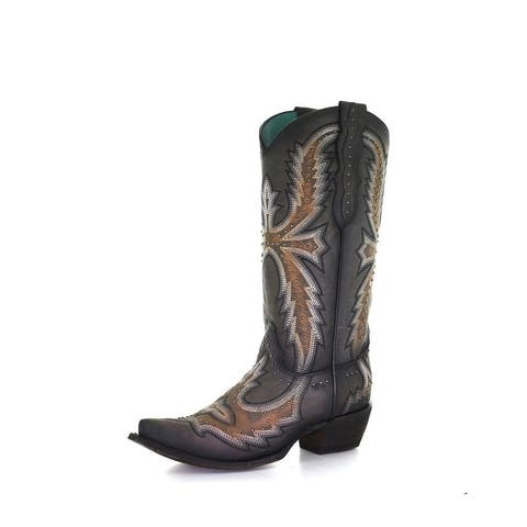 Corral Western Boot Women Hand Painted Embroidery Gray