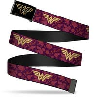 Wonder Woman Brushed Gold Black  Cam Wonder Woman Logo Floral Collage Web Belt