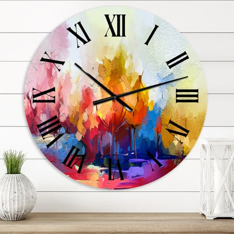 Designart 'Colorful Abstract Landscape I' Modern wall clock