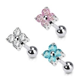 """Surgical Steel Flower Quad CZ Tragus/Cartilage Piercing Stud - 16GA 1/4"""" Long (5mm Ball) (Sold Ind.) (3 options available)"""