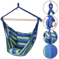 Costway Hammock Rope Chair Patio Porch Yard Tree Hanging Air Swing Outdoor (Blue And Green) - Blue and Green