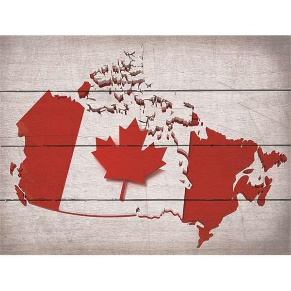 14 X 185 In Canadian Flag Printed Directly Onto Wood Map Art Print