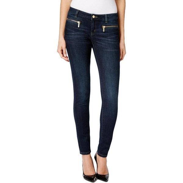 MICHAEL Michael Kors Womens Skinny Jeans Stone Wash Classic Rise