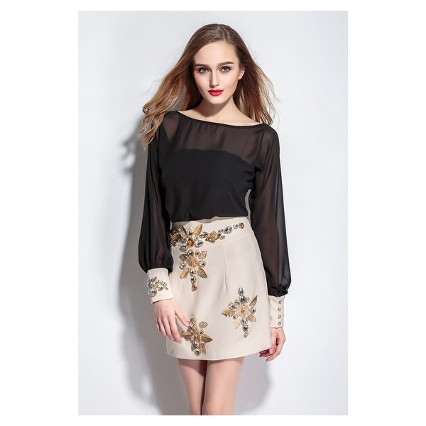 f2269b5f8f91 Short Chiffon Two Tone Long Sleeves Dresses With Beaded Embellishment
