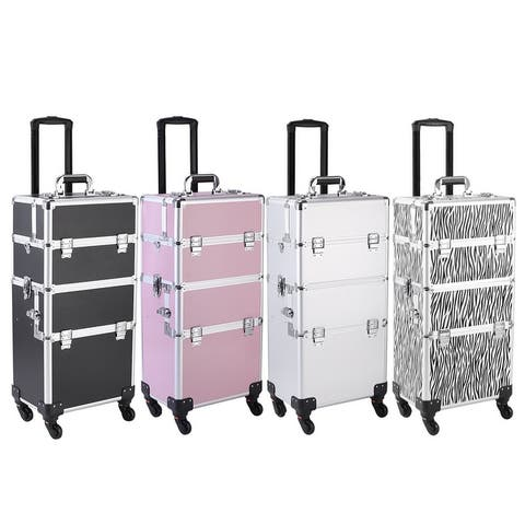 4 in 1 Rolling Makeup Train Case Large Storage Cosmetic Trolley