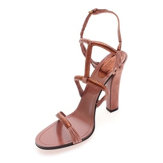 Gucci Women's Metallic Leather and Suede High Heel Sandals Copper