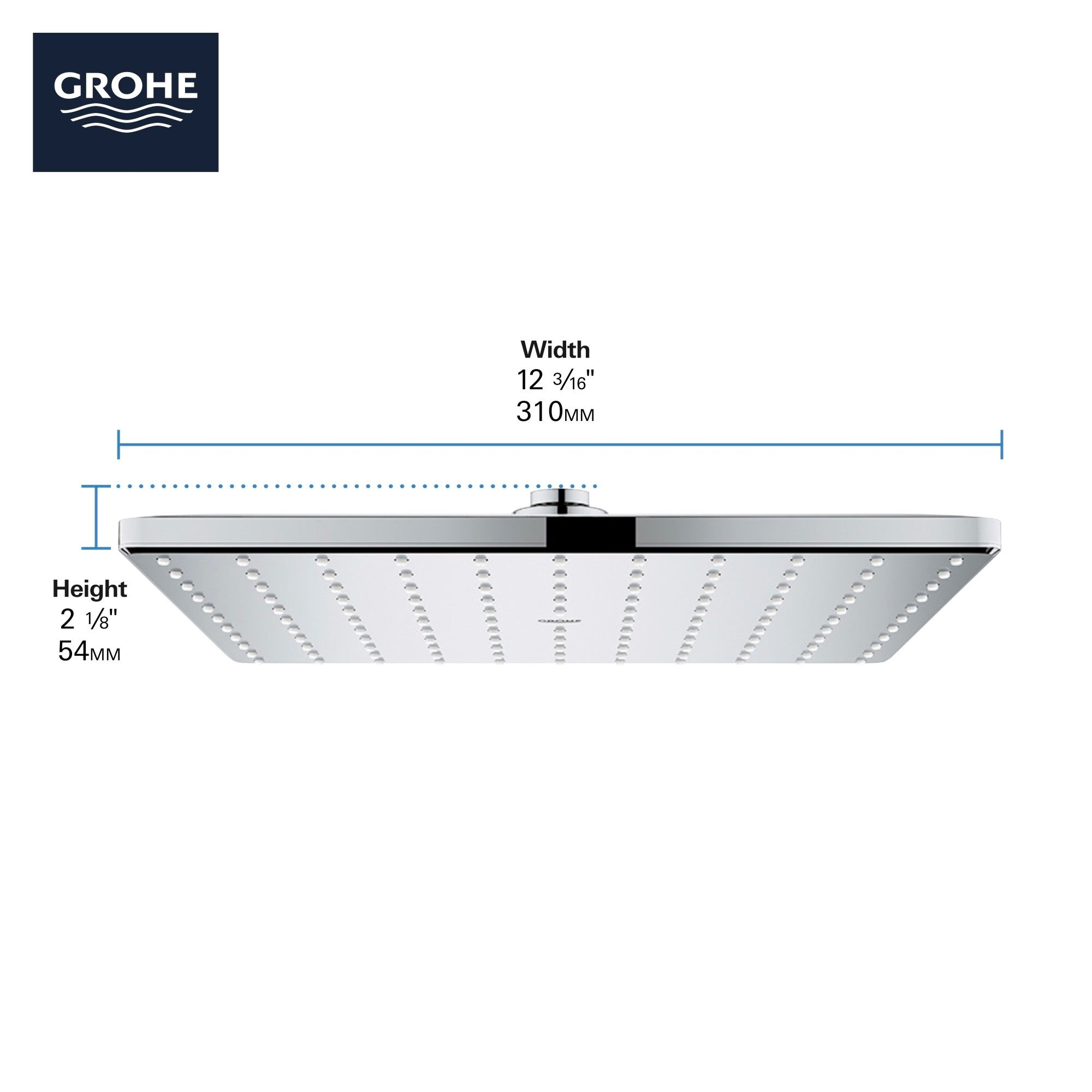Grohe 26 570 Rainshower Mono 1 75 Gpm Single Function Shower Head With Dreamspray Speedclean And Ecojoy Technology