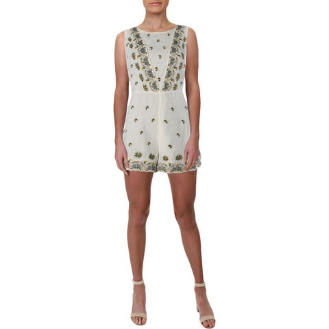 Free People Womens Margarita Romper Embroidered Sleeveless