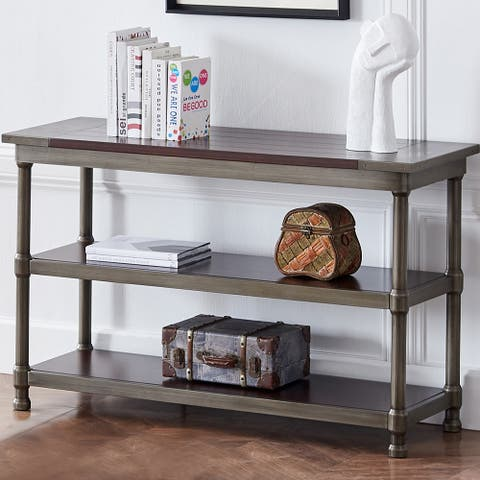 3-Tier Sofa Table, Console Table MDF Panels with Metal Finish Legs
