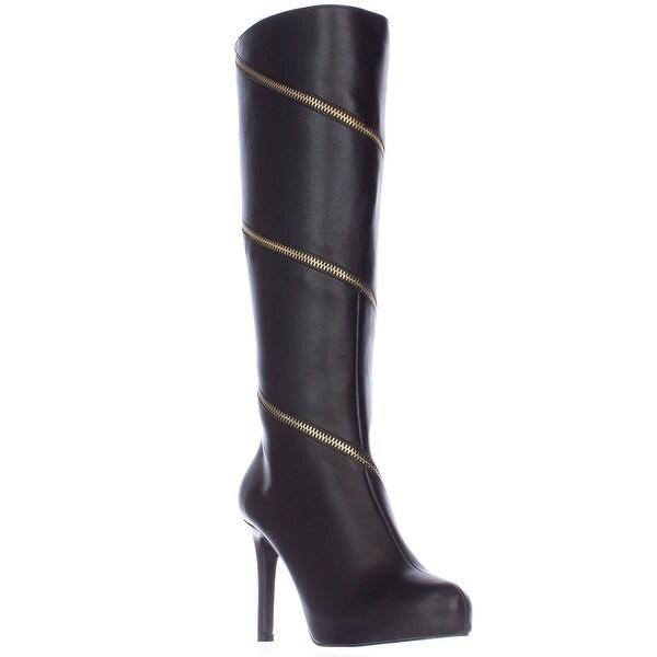 TS35 Valdiva Zipper Lined Knee-High Dress Boots, Black