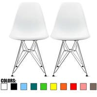 2xhome Set of 2 Modern Plastic Dining Side Chair Colors With Wire Chrome Retro Molded Shell Accent Living Room Home Desk Office