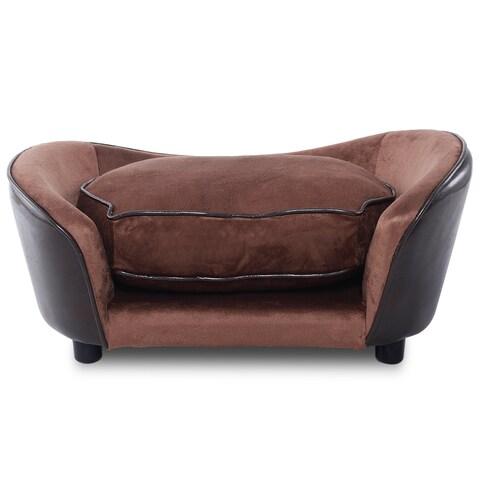 Gymax Pet Sofa Ultra Plush Snuggle Soft Warm Dog Puppy Sleeping Bed w/ Cushion Brown