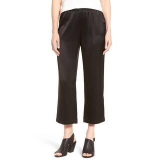 Eileen Fisher NEW Black Women Size Medium M Cropped Straight Silk Pants