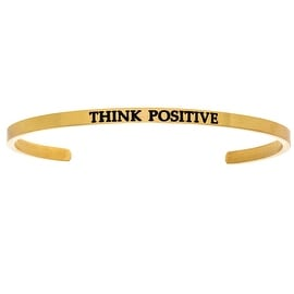 "Intuitions ""Think Positive"" Yellow Stainless Steel Cuff Bangle Bracelet"