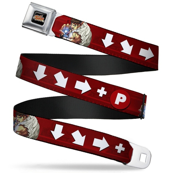 Street Fighter Retro Logo Full Color Black Ryu Fireball Moves W Pose Red Seatbelt Belt