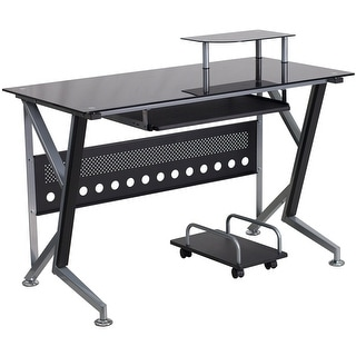 Hamlet Black Glass Home/Office Computer Desk w/Pull-Out Keyboard Tray and CPU Cart