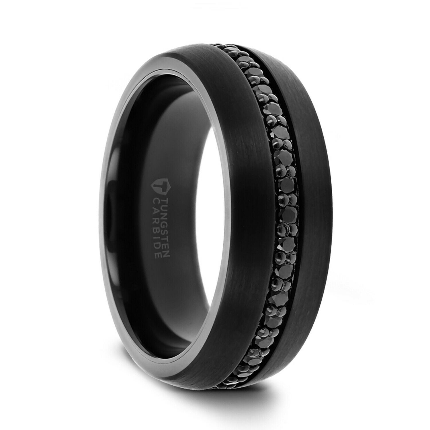 Thorsten Valiant  Tungsten Rings for Men  Black Tungsten  Comfort Fit   Wedding Ring Band with Black Sapphires - 10mm