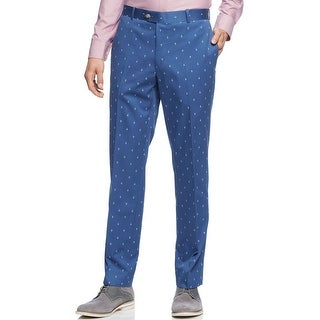 Bar III Blue Anchors Chinos Pants 30 x 30 Slim Fit Flat Front