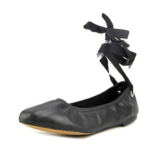 Steve Madden Meow Women  Round Toe Leather Black Ballet Flats