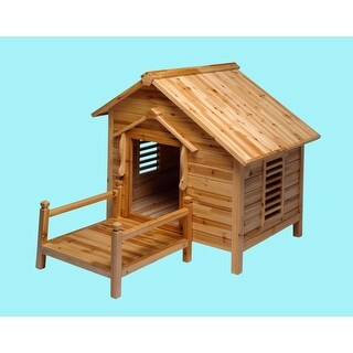 Wood Dog House Outdoor Wooden Pet Shelter Bed Large w/ Porch