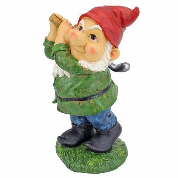 """12"""" Golfer Gnome Hand Painted Outdoor Garden Statue - N/A"""