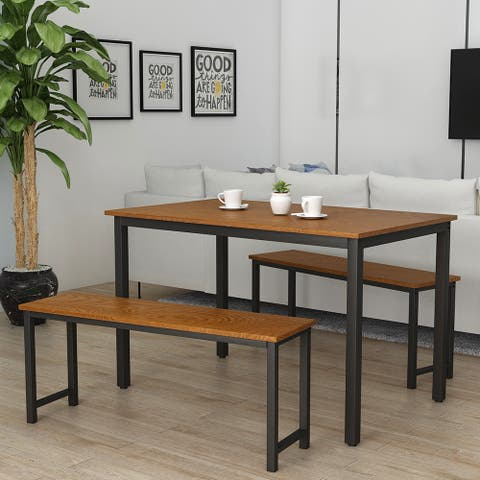 Moda 3 Pieces Farmhouse Kitchen Table Set with Two Benches, Metal Frame and MDF Board