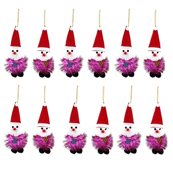 Unique Bargains 12PCS Red Cap Detail Christmas Santa Claus Pendant Purple for Indoor Xmas Tree