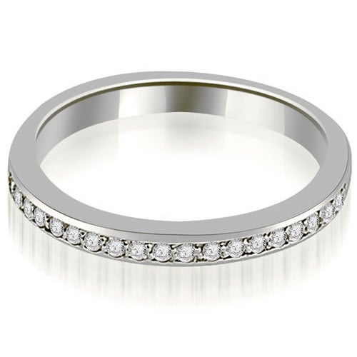 Petite 0.20 ct.tw. 14K White Gold Prong Set Round Cut Diamond Wedding Band HI, SI1-2