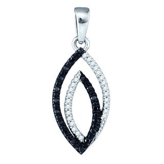 Twin Marquise Pendant 10K White-gold With Black and White Diamonds 0.05 Ctw By MidwestJewellery