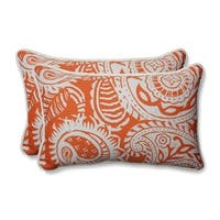 "Set of 2 White Paisley Swirl and Coral Rectangular Outdoor Corded Throw Pillows 18.5"" - Orange"