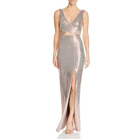 BCBG Max Azria Womens Formal Dress Sequined Cut Out - Rose Gold