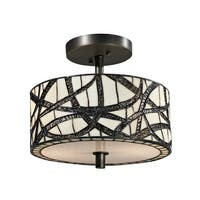 "12"" Dark Bronze Willow Cottage Hand Crafted Glass Semi-Flush Mount Ceiling Light Fixture - Brown"