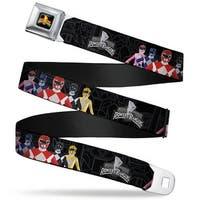 Power Rangers Logo Full Color Power Rangers Group Pose Mmpr Logo Black Gray Seatbelt Belt
