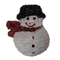 "19"" Shiny and Iridescent Smiling Snowman Hanging Christmas Decoration - WHITE"