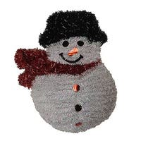 "19"" Shiny and Iridescent Smiling Snowman Hanging Christmas Decoration"