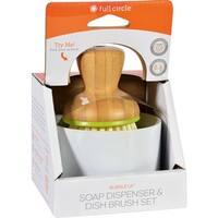 Full Circle Home Bubble Up Brush Plus Soap Dish- White - Case of 4