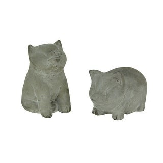 Grey Cement Pudgy Pigs Statue Set of 2 Small - 2.5 X 4.25 X 2.25 inches