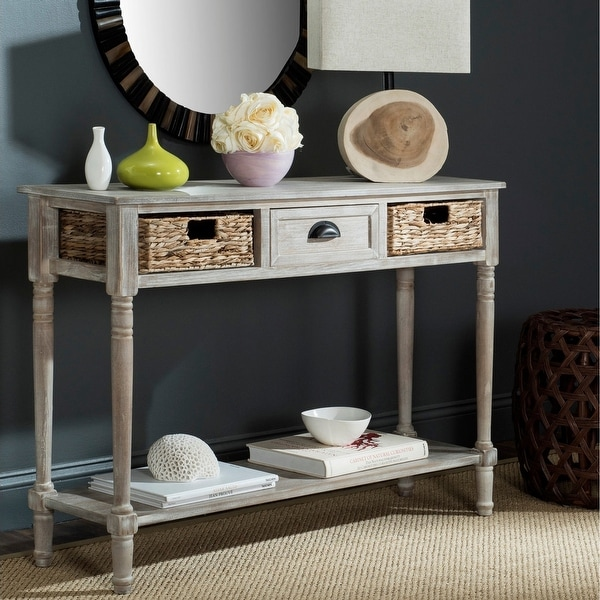 """Safavieh Christa Vintage White Washed 3-Drawer Console Storage Table - 44.5"""" x 13.4"""" x 31.5"""". Opens flyout."""