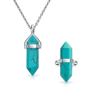 Double Pointed Crystal Lab Created Turquoise Stainless Steel Stainless Steel Jewelry Set