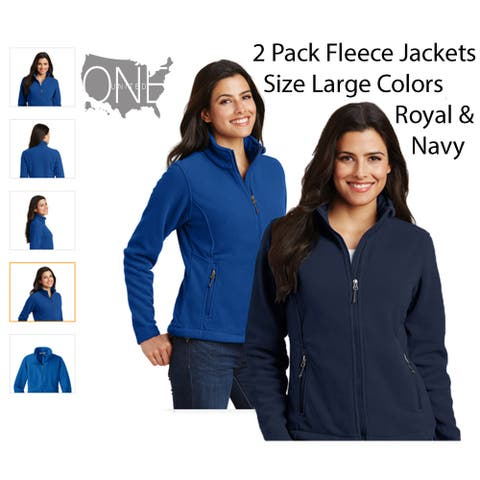 Women's Athletic Fleece (Size Large) 2 Pack Bundle, Navy/Royal