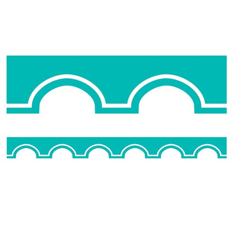Simply Stylish Tropical Turquoise and White Awning Scalloped Borders - One Size