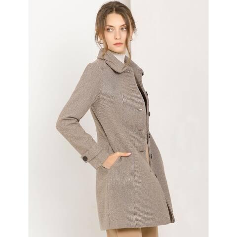 Allegra K Women's Peter Pan Collar Single Breast Winter Long Coat