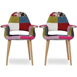 2xhome - Set of Two (2) - Multi-color - Upholstered Organic Armchair Arm Chair Fabric Chair Patchwork Natural Wood Legs