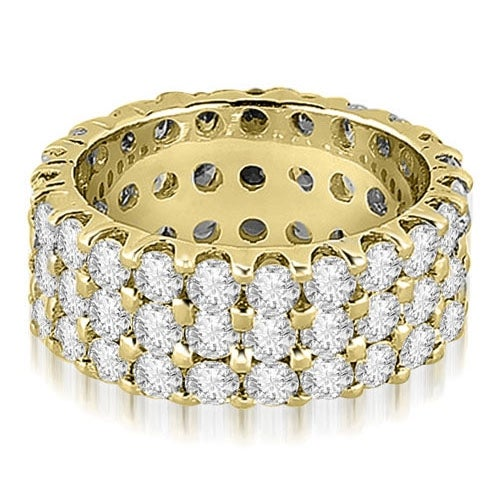 4.85 cttw. 14K Yellow Gold Round Diamond Three Row Eternity Ring