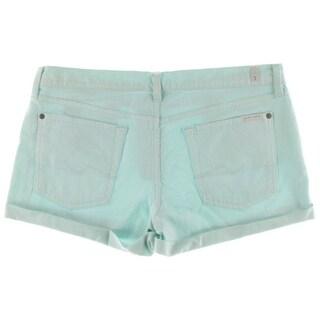7 For All Mankind Womens Denim Cuffed Denim Shorts